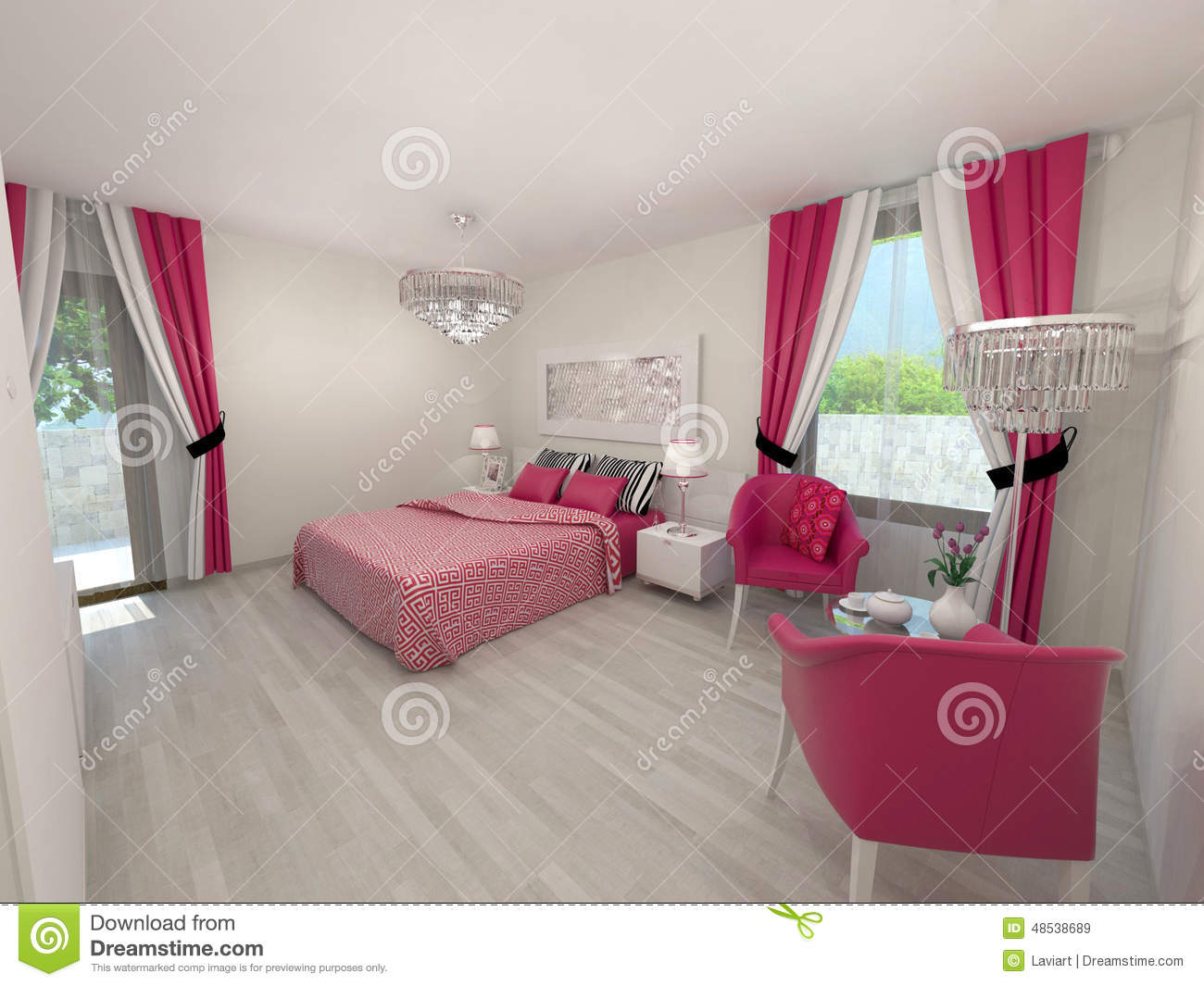Chambre a coucher rose pr l vement d for Idee chambre a coucher moderne