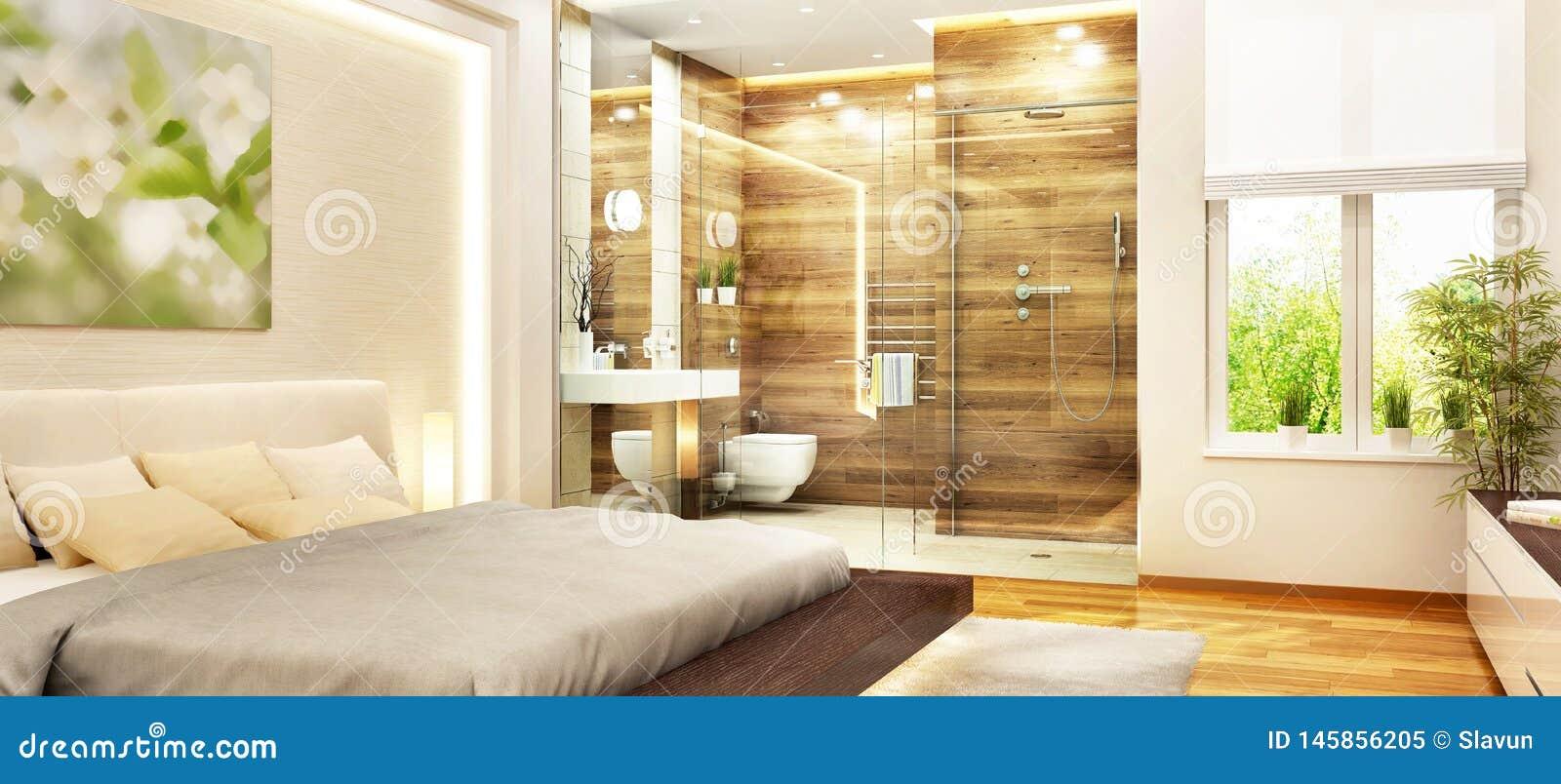 Chambre ? Coucher Moderne Avec La Salle De Bains Et La Fen ...