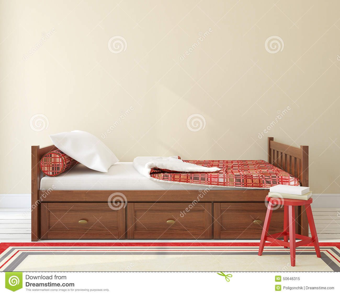 chambre coucher pour l 39 enfant illustration stock image 50646315. Black Bedroom Furniture Sets. Home Design Ideas