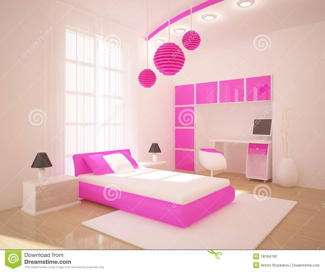 Chambre à coucher rose photo stock   image: 18184760
