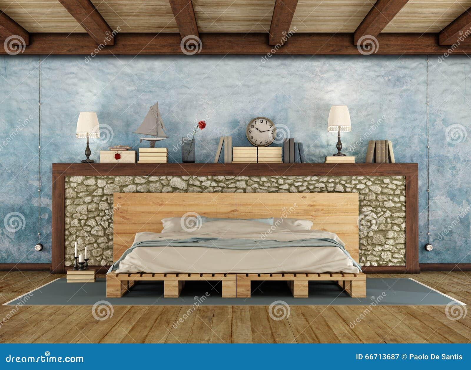 Une vieille chambre à coucher en bois et rustique image stock ...