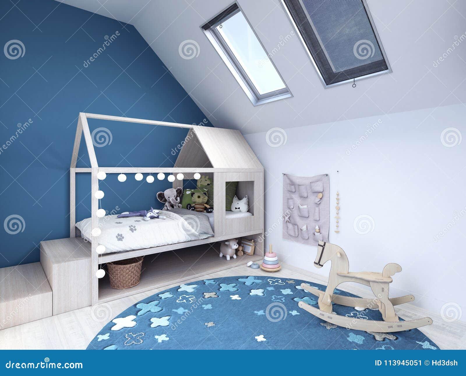 Chambre D\'enfant, Chambre à Coucher D\'enfants Avec Le Tapis Bleu Et ...