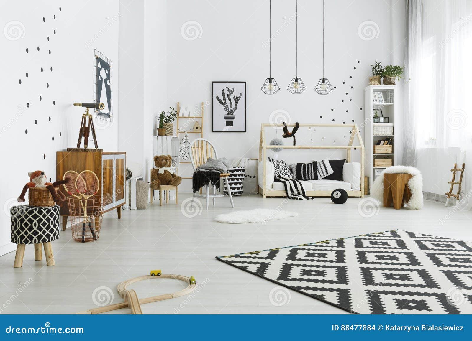 chambre d 39 enfant dans le style scandinave photo stock image du gar on d cor 88477884. Black Bedroom Furniture Sets. Home Design Ideas
