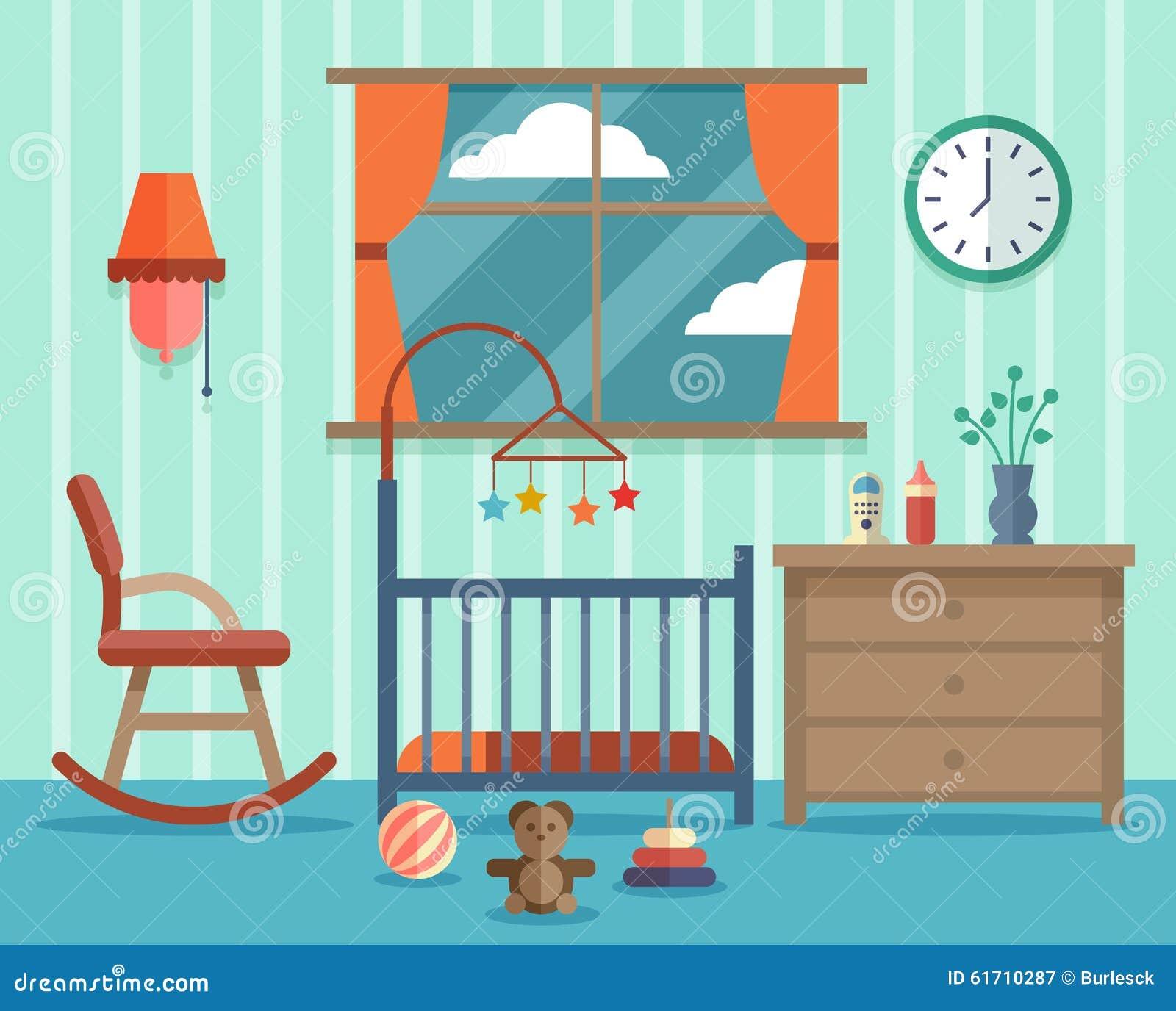 chambre d 39 enfant pour le b b nouveau n vecteur plat illustration de vecteur image 61710287. Black Bedroom Furniture Sets. Home Design Ideas