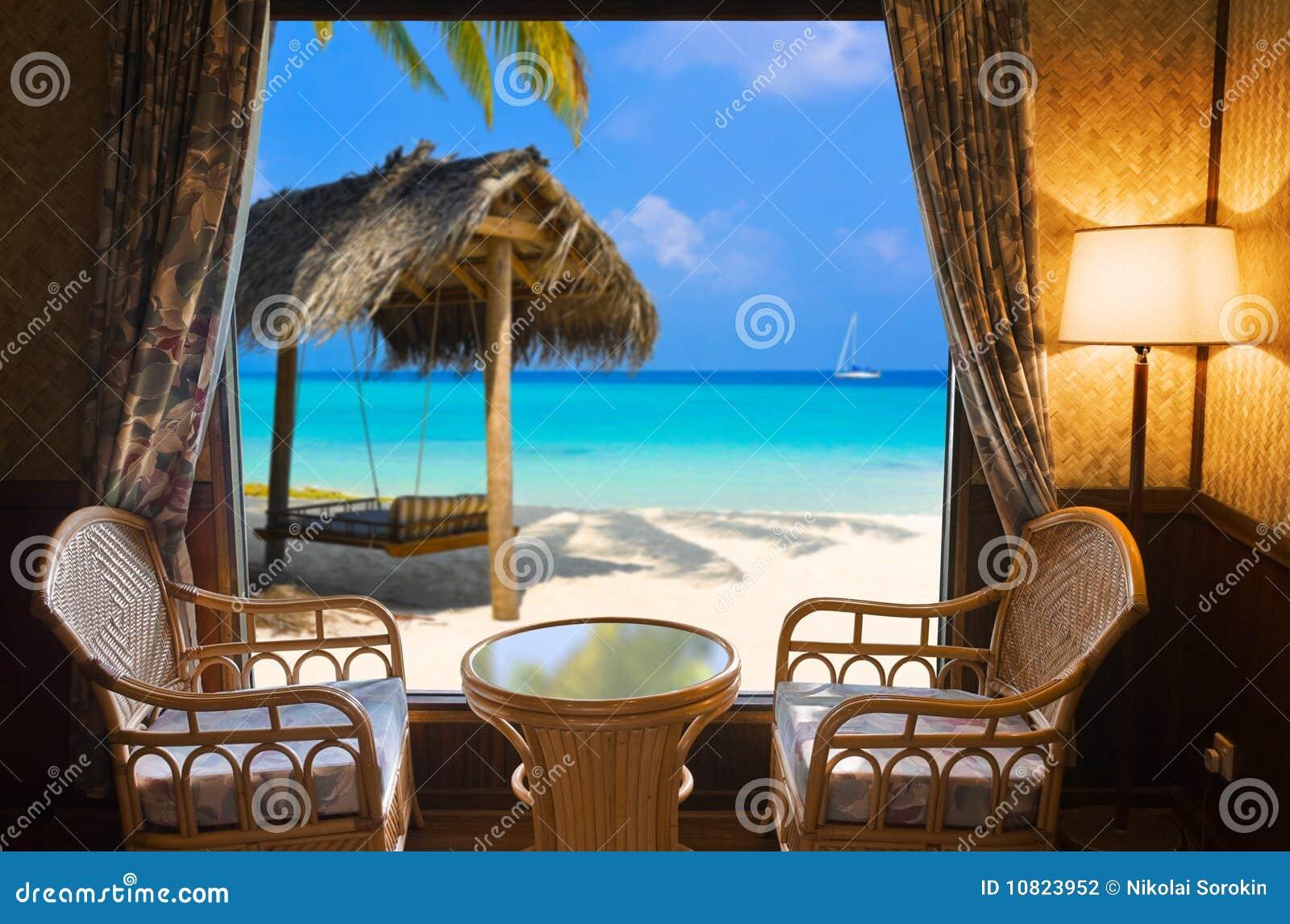 Chambre d hôtel et horizontal tropical