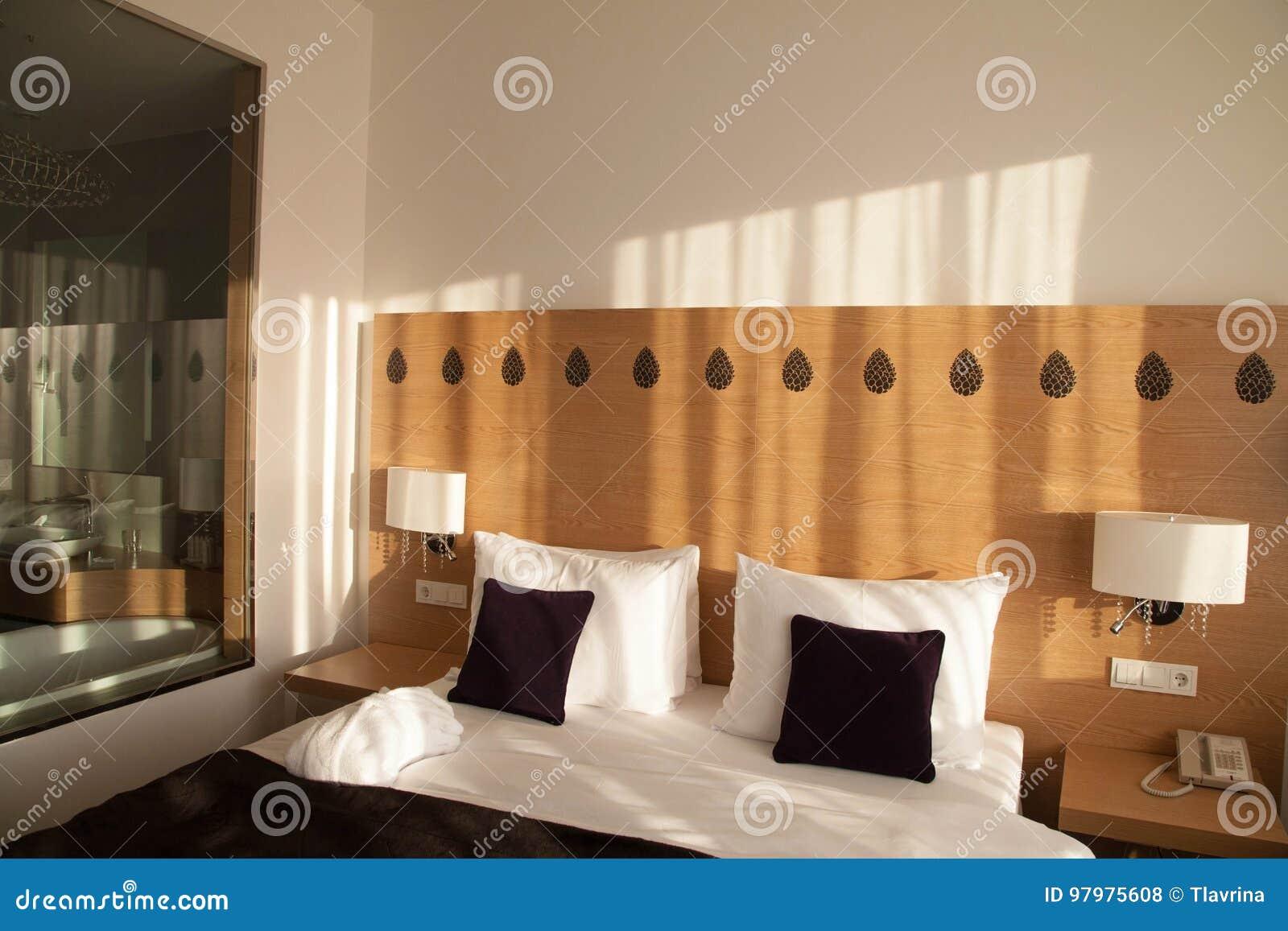Chambre D\'hôtel Contemporaine Avec La Vue Et Mur De Verre à La Salle ...