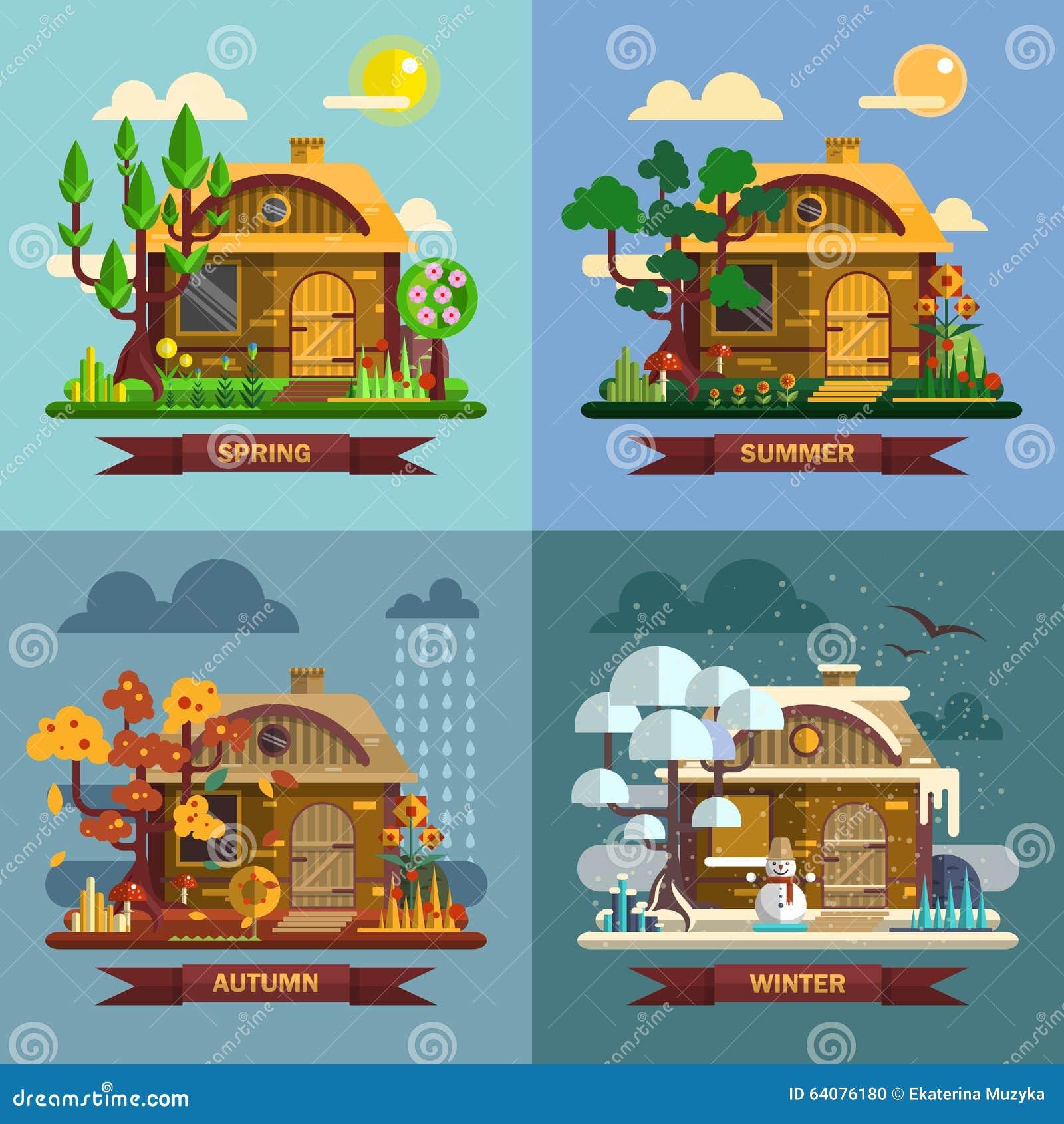 Chambre dans diff rentes p riodes de l 39 ann e quatre saisons illustration de vecteur image - Saisons de l annee ...