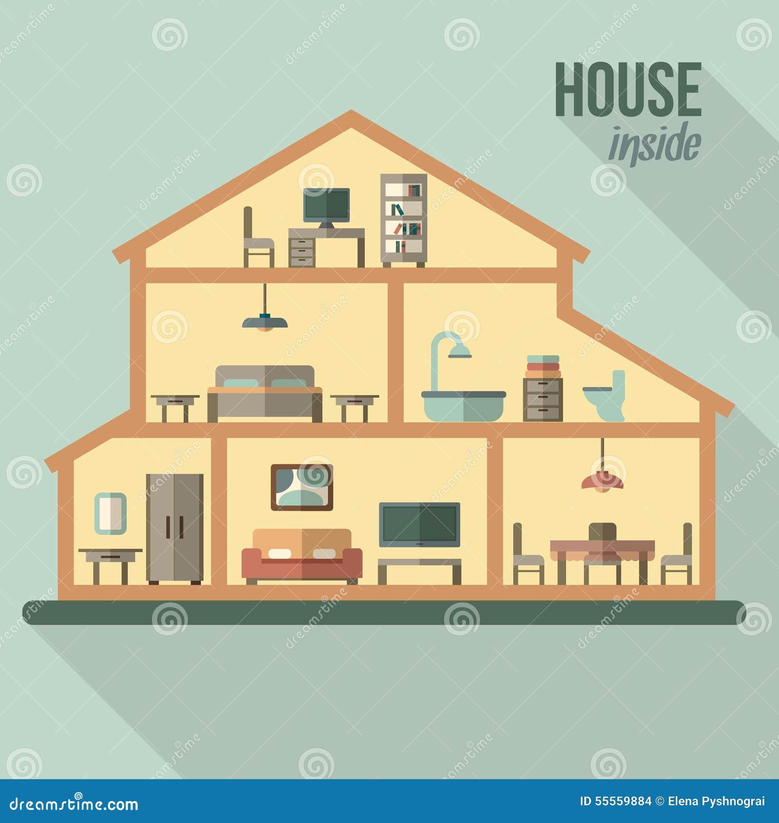 Chambre dans la coupe int rieur moderne d taill de maison for Plan de coupe de maison