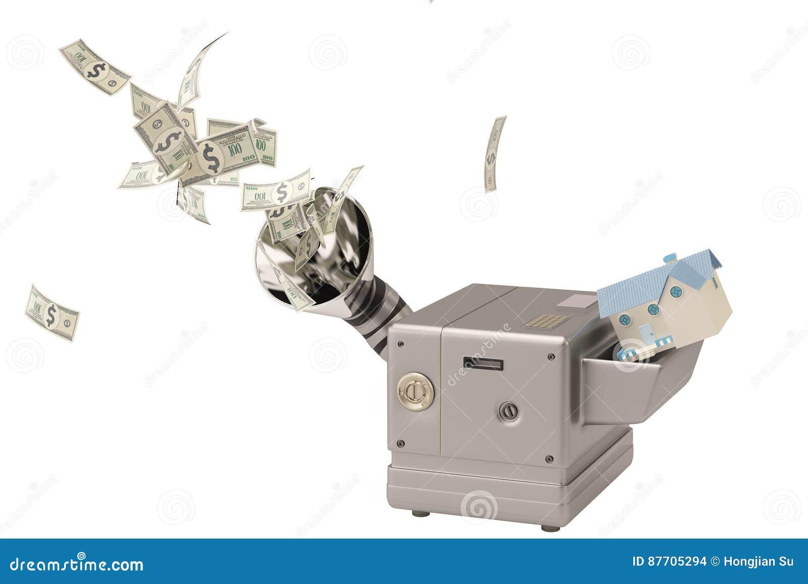 Chambre dans la machine, argent liquide de production illustration 3D