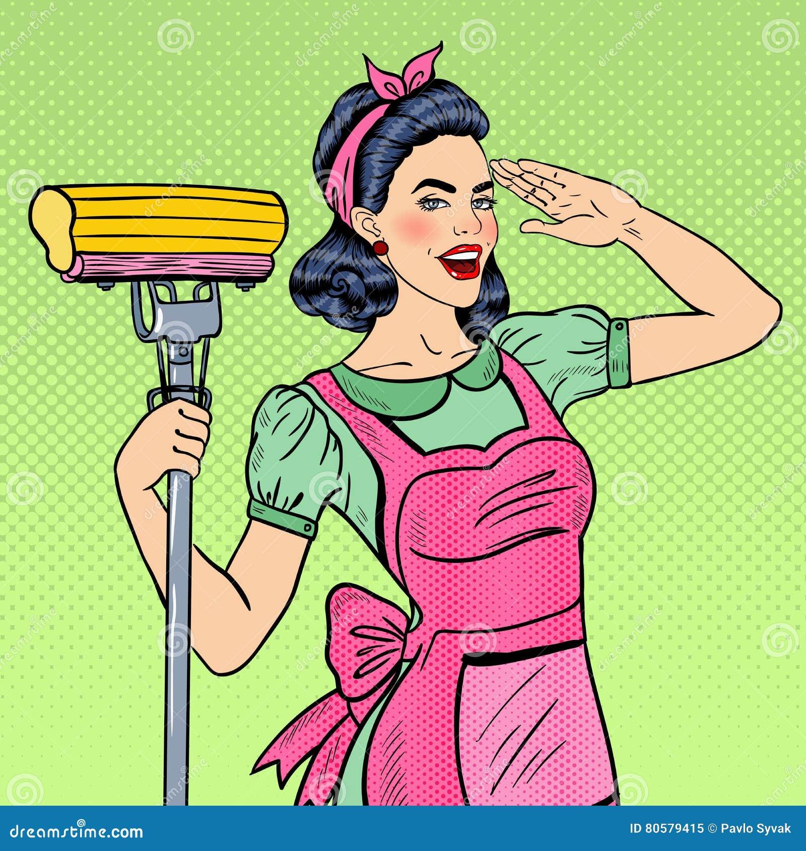 Chambre de nettoyage d Art Young Confident Housewife Woman de bruit avec le balai