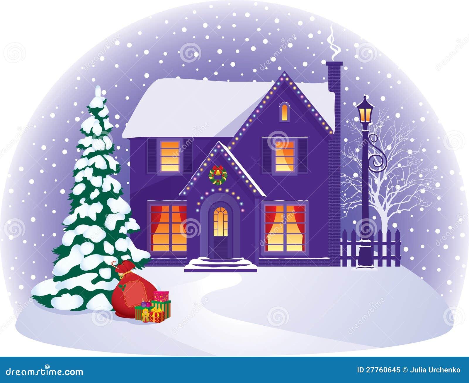 Chambre en nuit de Noël de l hiver