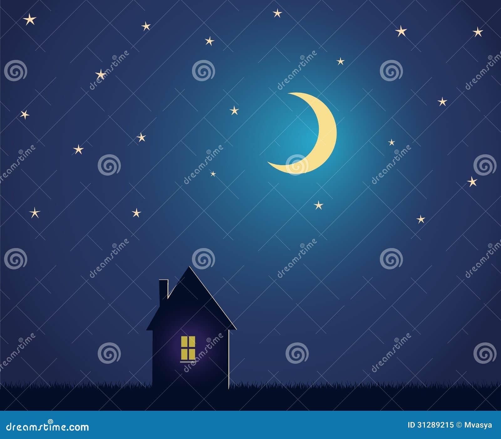 chambre et ciel nocturne avec les toiles et la lune photo libre de droits image 31289215. Black Bedroom Furniture Sets. Home Design Ideas