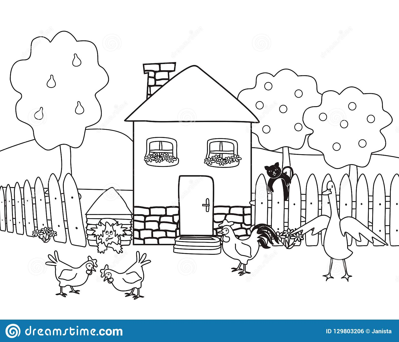 Chambre Et Jardin Avec Des Animaux De Ferme Livre De Coloriage