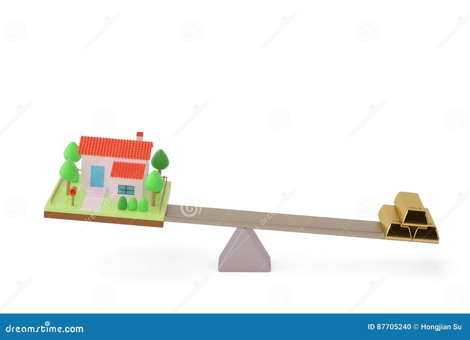 Chambre et lingot sur la bascule, illustration 3D