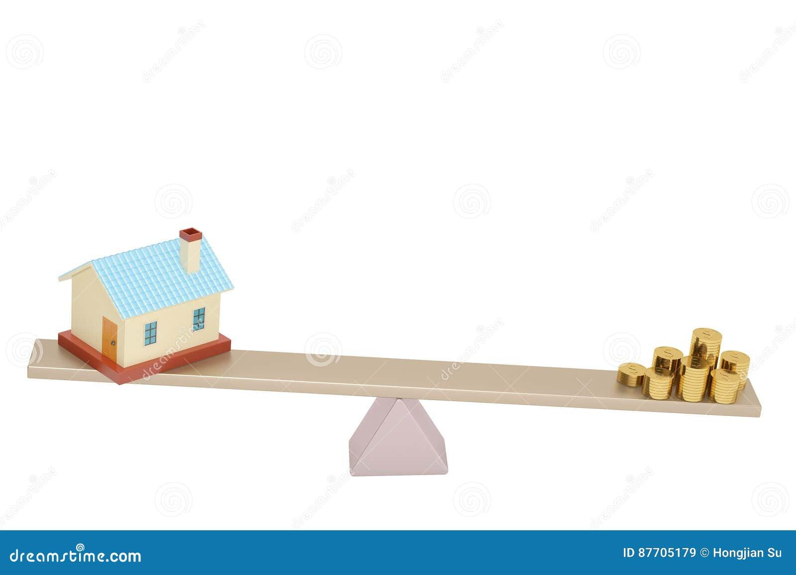 Chambre et pièces d or sur la bascule, illustration 3D