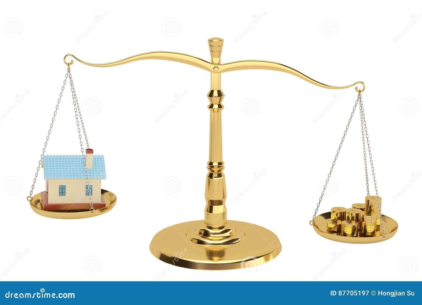 Chambre et pièces d or sur les échelles, illustration 3D
