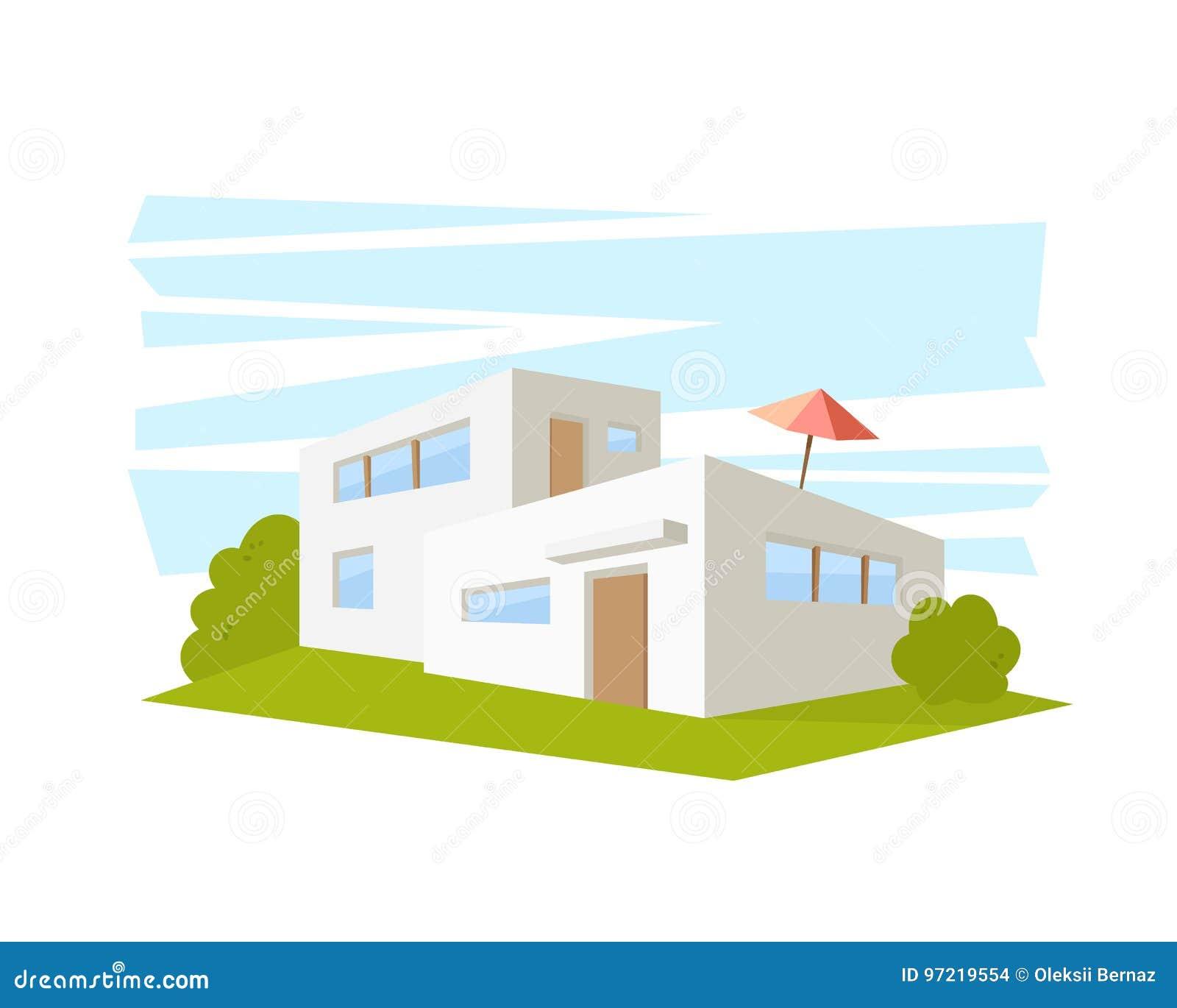 Chambre Moderne D\'architecture De Style Plat Avec La Pelouse ...