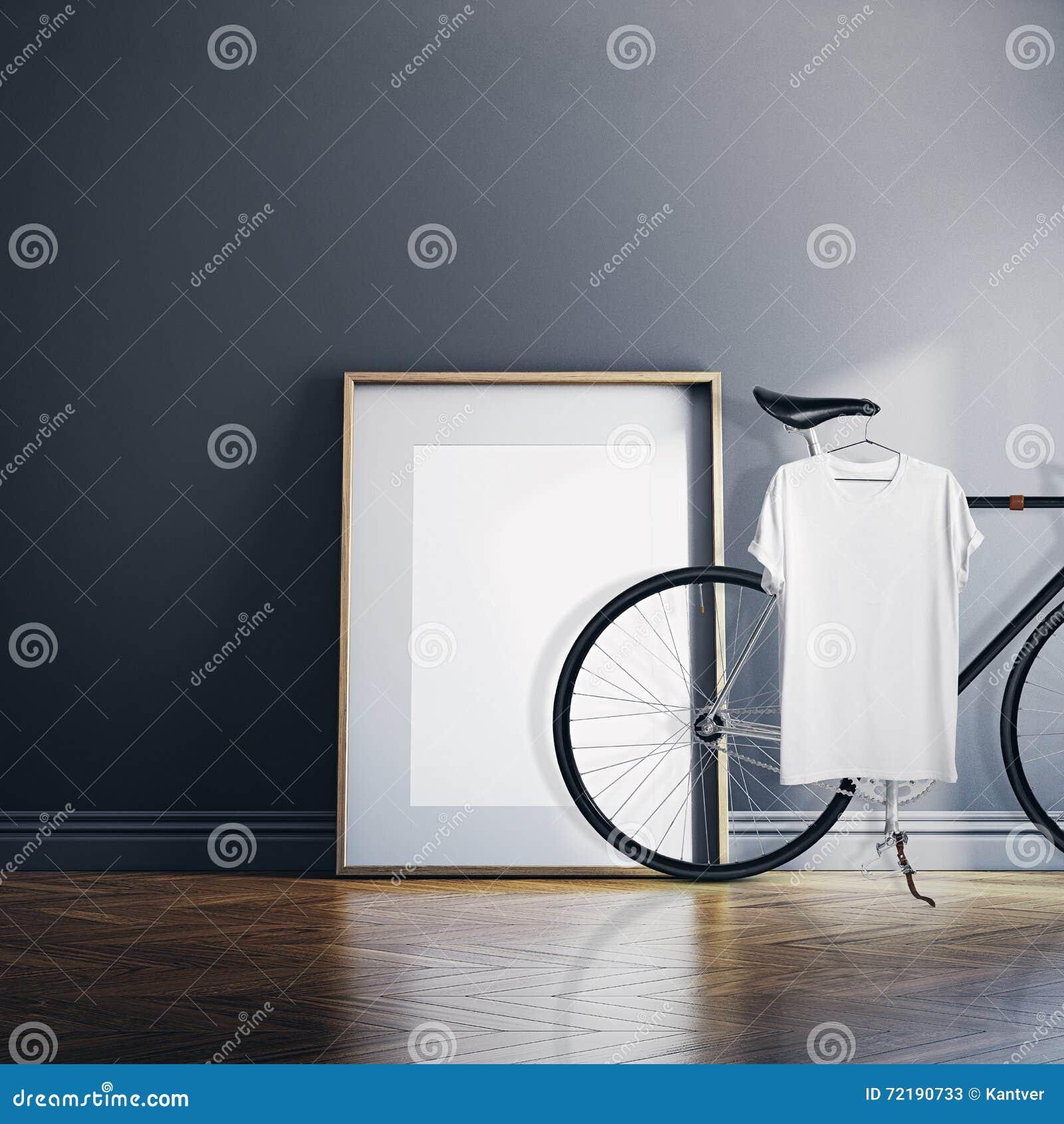 Chambre moderne intérieure de studio de photo avec la bicyclette classique Toile blanche vide sur le plancher en bois naturel Acc