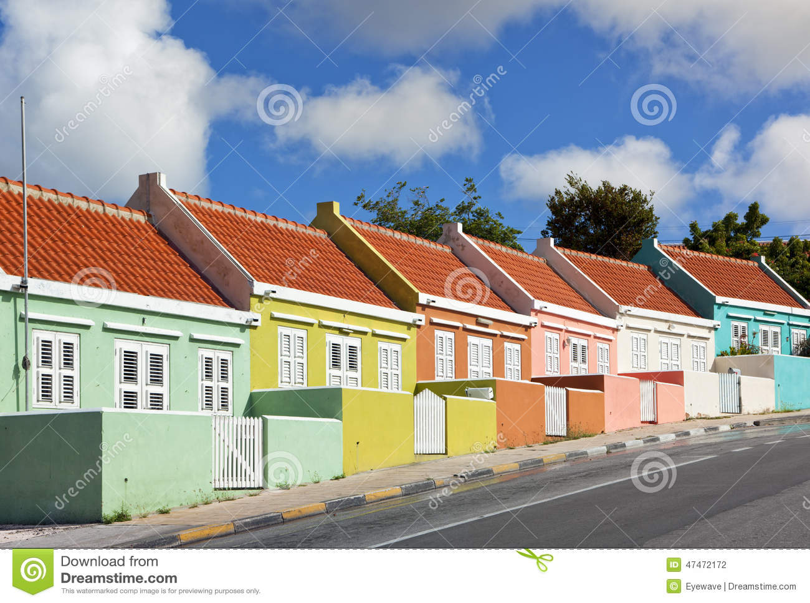 Chambres colorées chez Willemstad, Curaçao