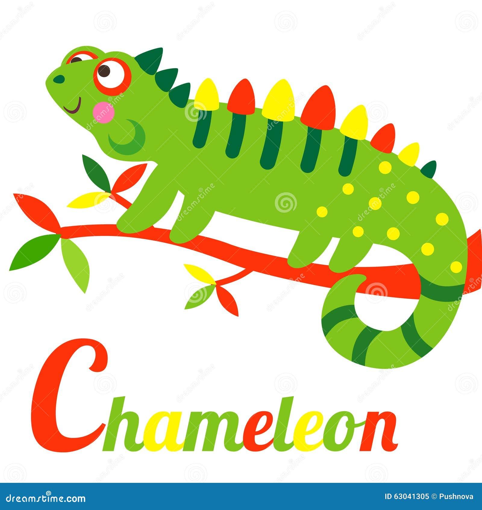 Stock Illustration Chameleon Cute Animal Alphabet C Letter Cute Cartoon Alphabet Design Colorful Style Image63041305 on Preschool Chameleon Art