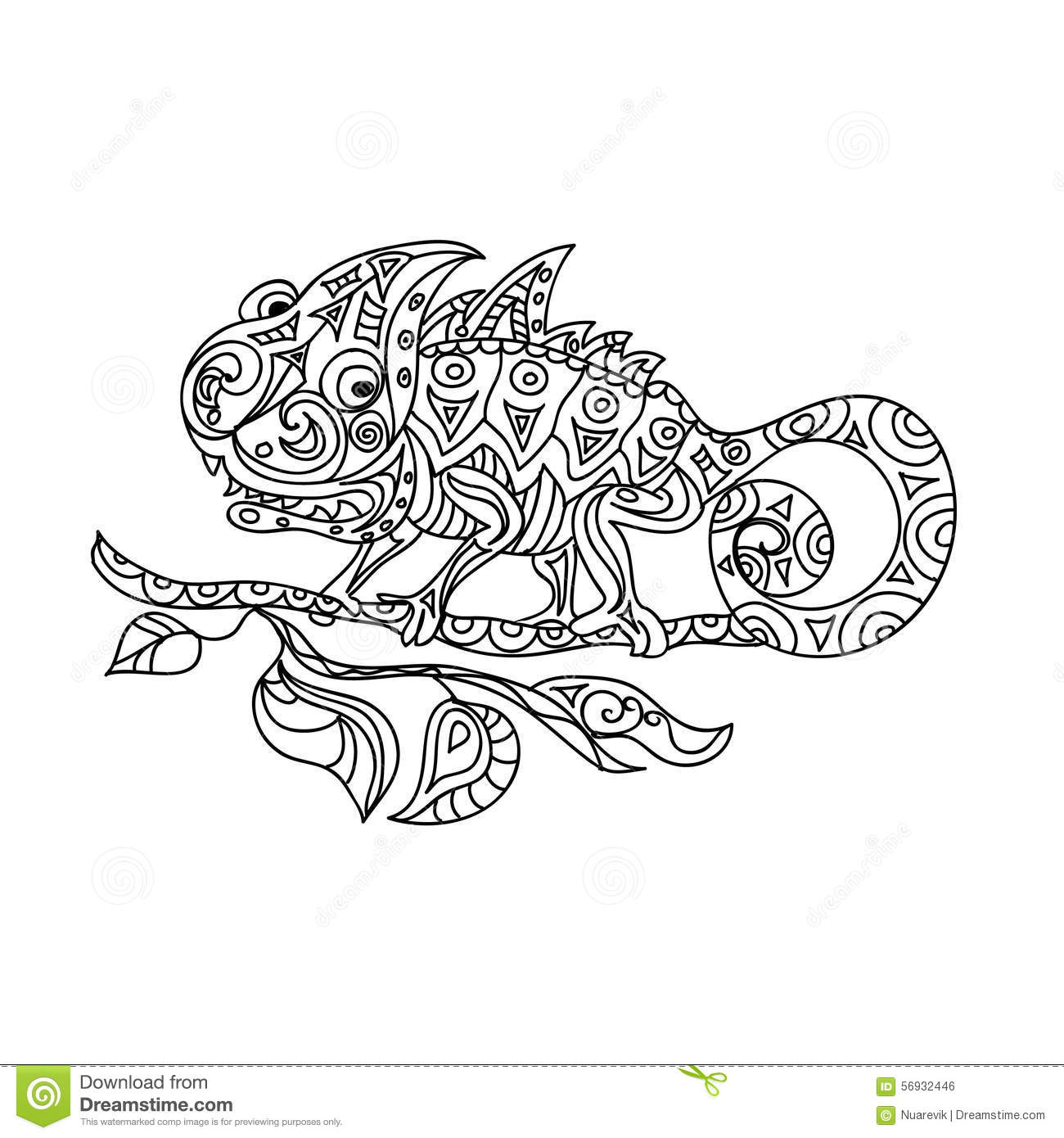 Free coloring pages chameleon - Chameleon Zentangle
