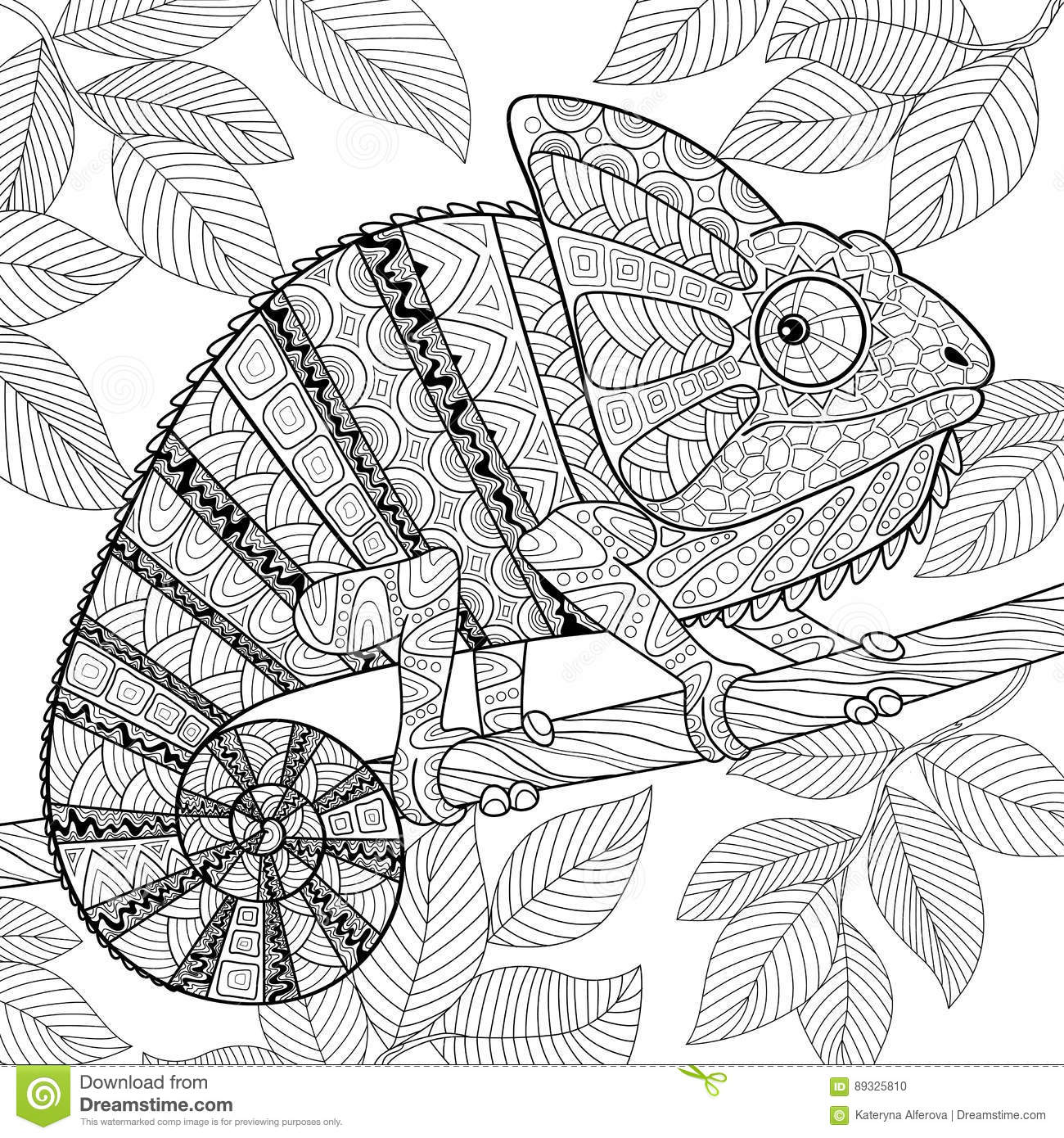 chameleon in zentangle style adult antistress coloring