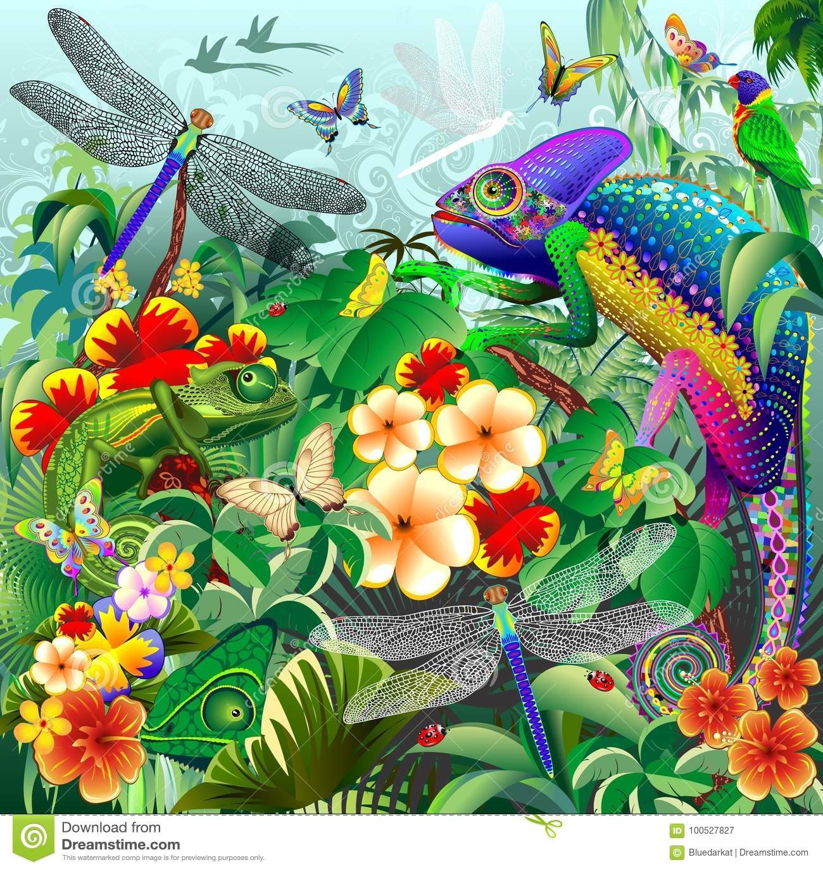 Chameleons Hunting, Dragonflies, Butterflies, Ladybugs