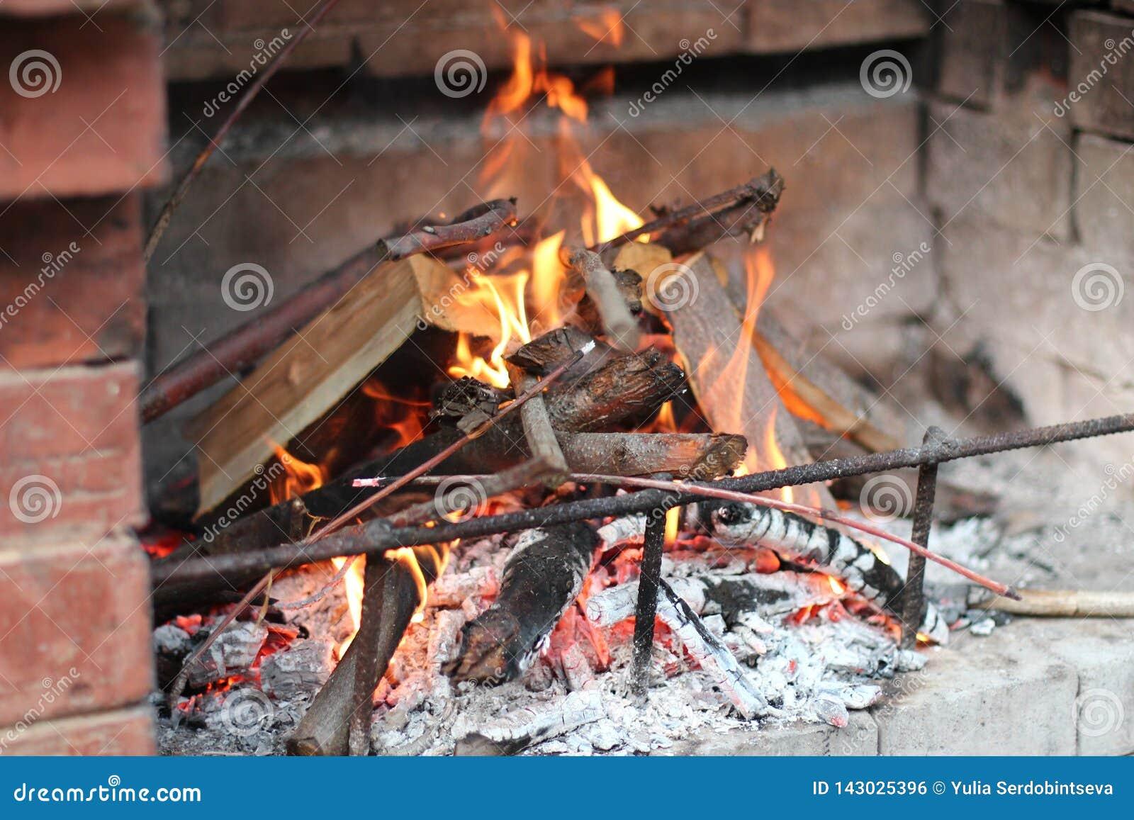 A chaminé na rua do tijolo vermelho é um fogo, você pode ver a madeira e os ramos das árvores
