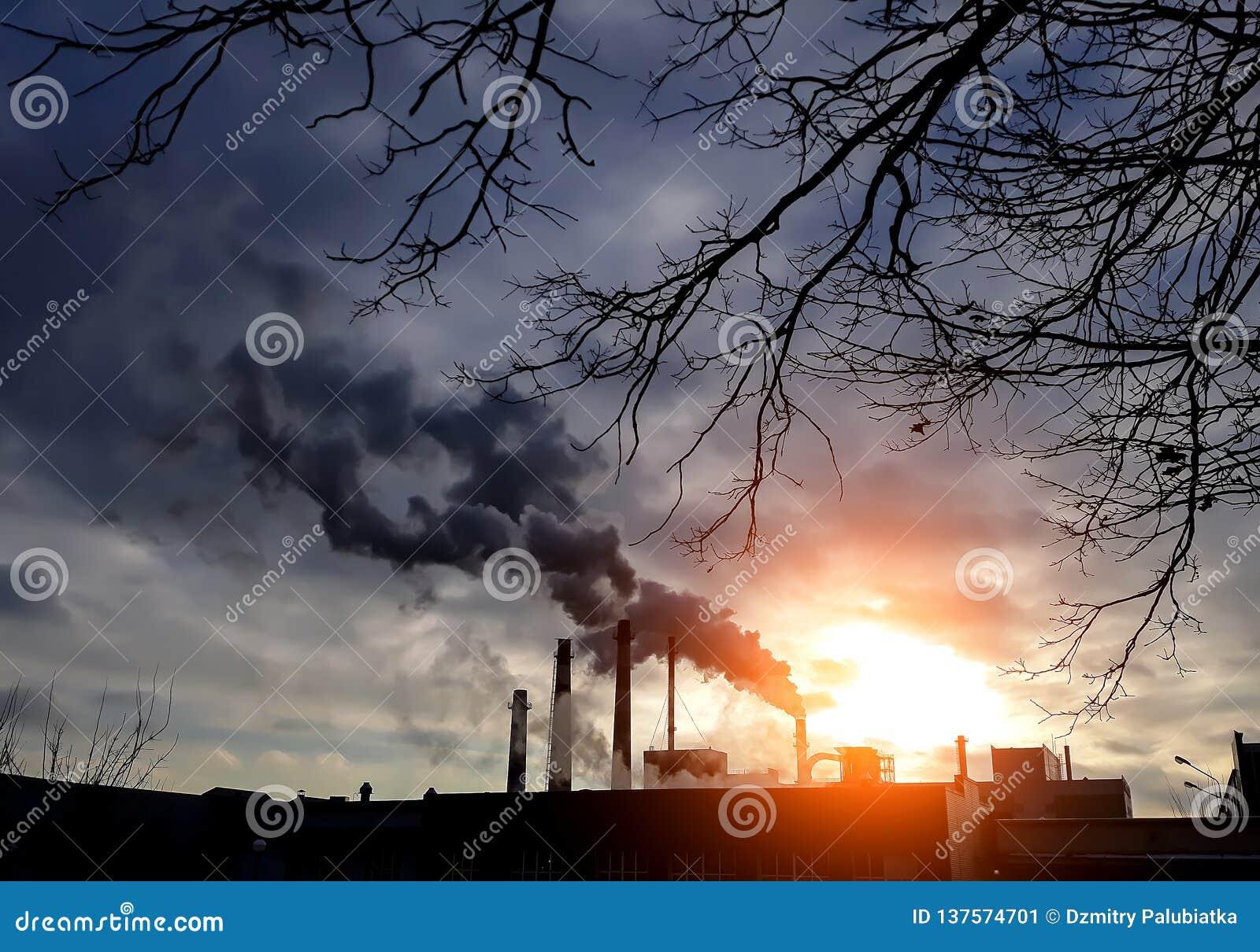 Chaminés da fábrica com fumo preto Chaminés da fábrica Poluição do ar Conceito da poluição do ambiente Conceito do desastre ecoló