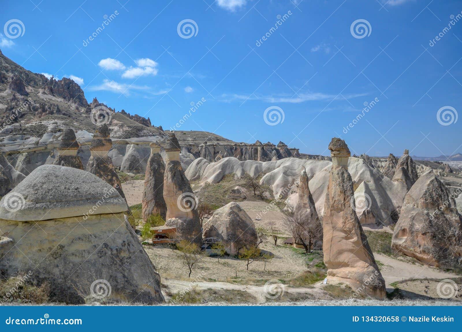 Chaminés feericamente de Cappadocia na garganta em Turquia