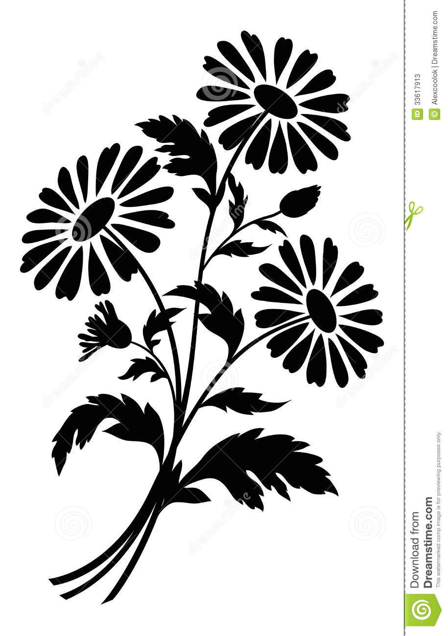 Chamomile flowers silhouettes stock vector illustration of garden download comp mightylinksfo