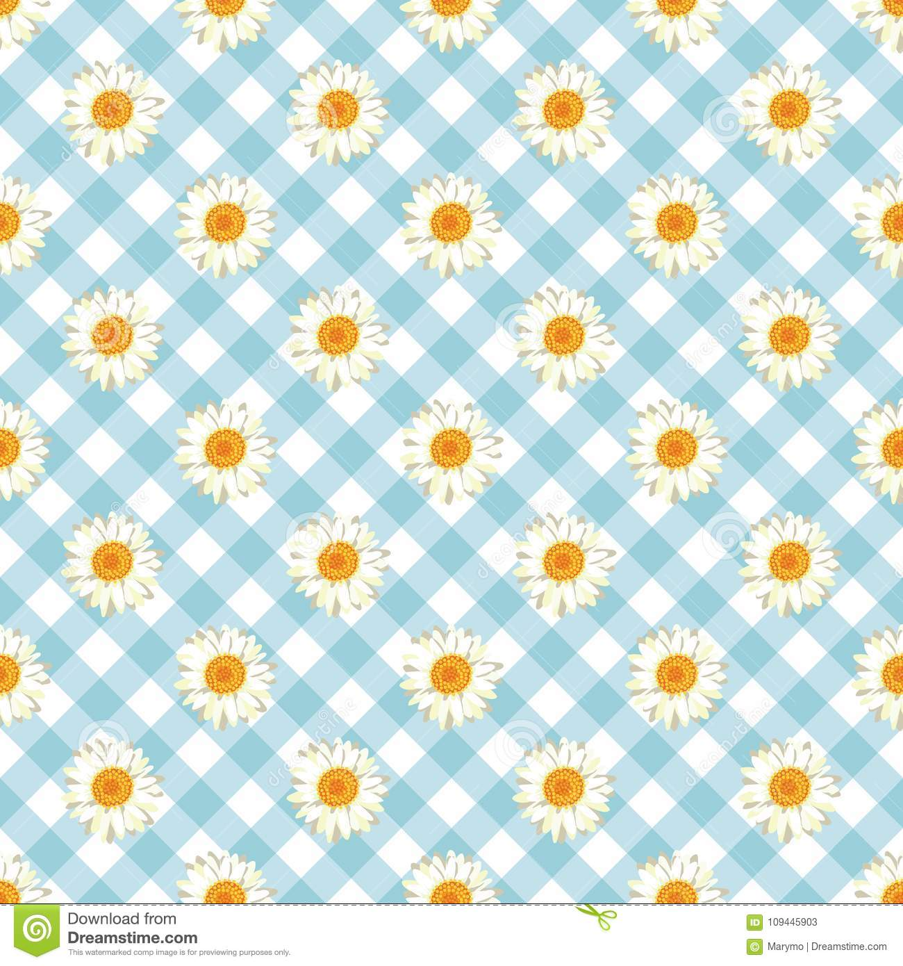 Chamomile seamless pattern. Daisies on blue Gingham Check background.