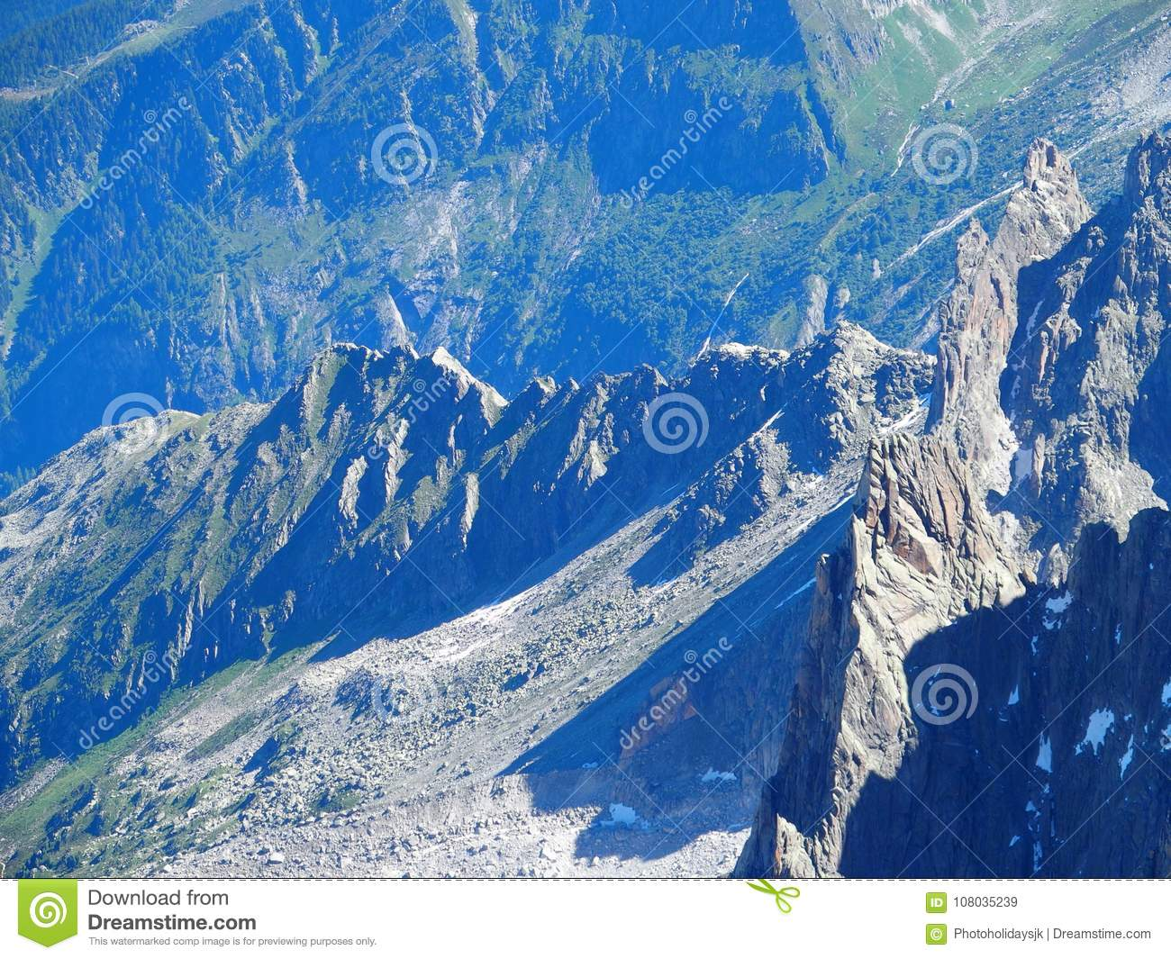Rocky Mountains Range Landscape At French Alps Stock Image ...