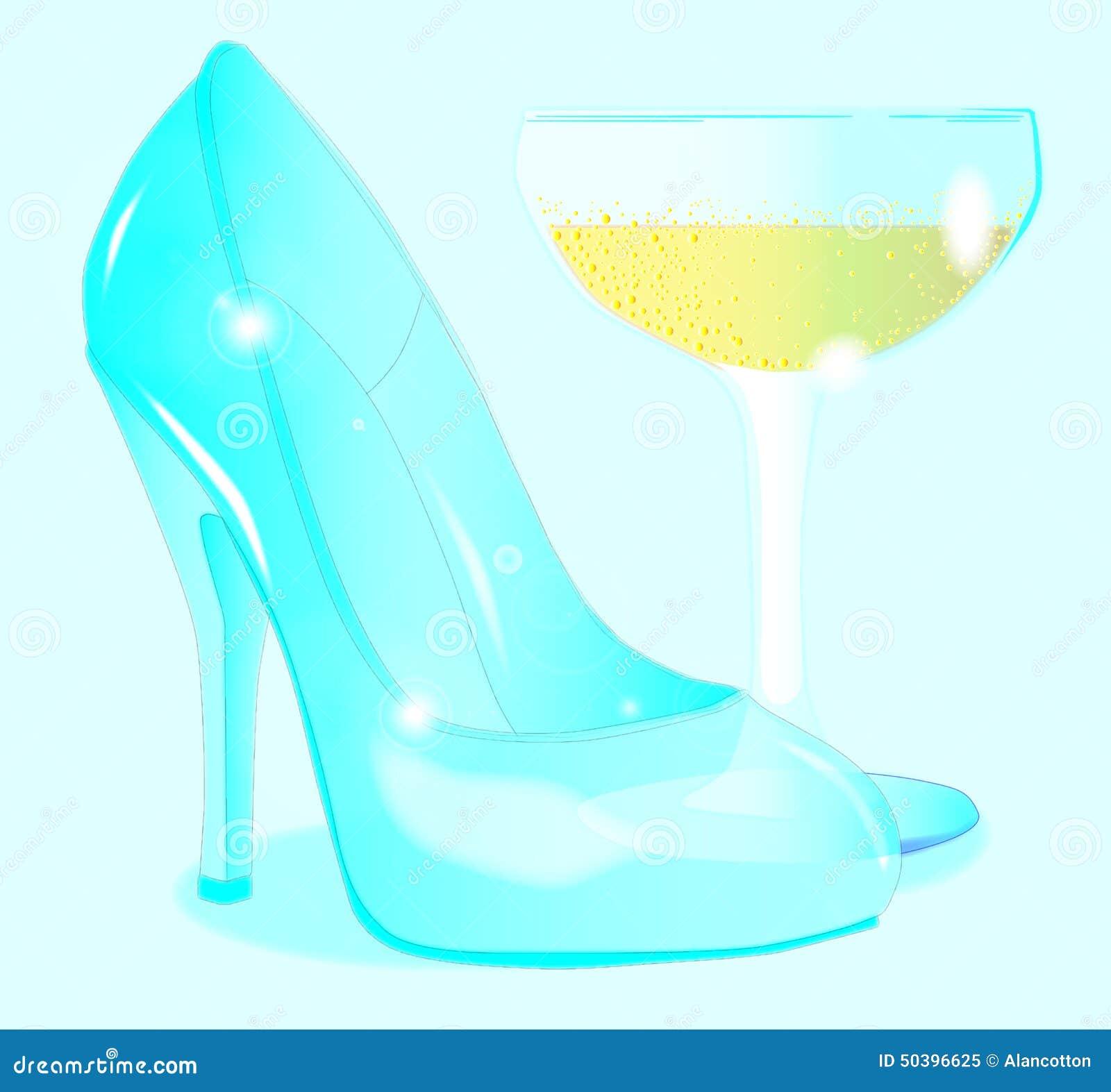 Champán Y Zapato Del Vidrio De Las Señoras Stock de ilustración ... 615a0a18d79e