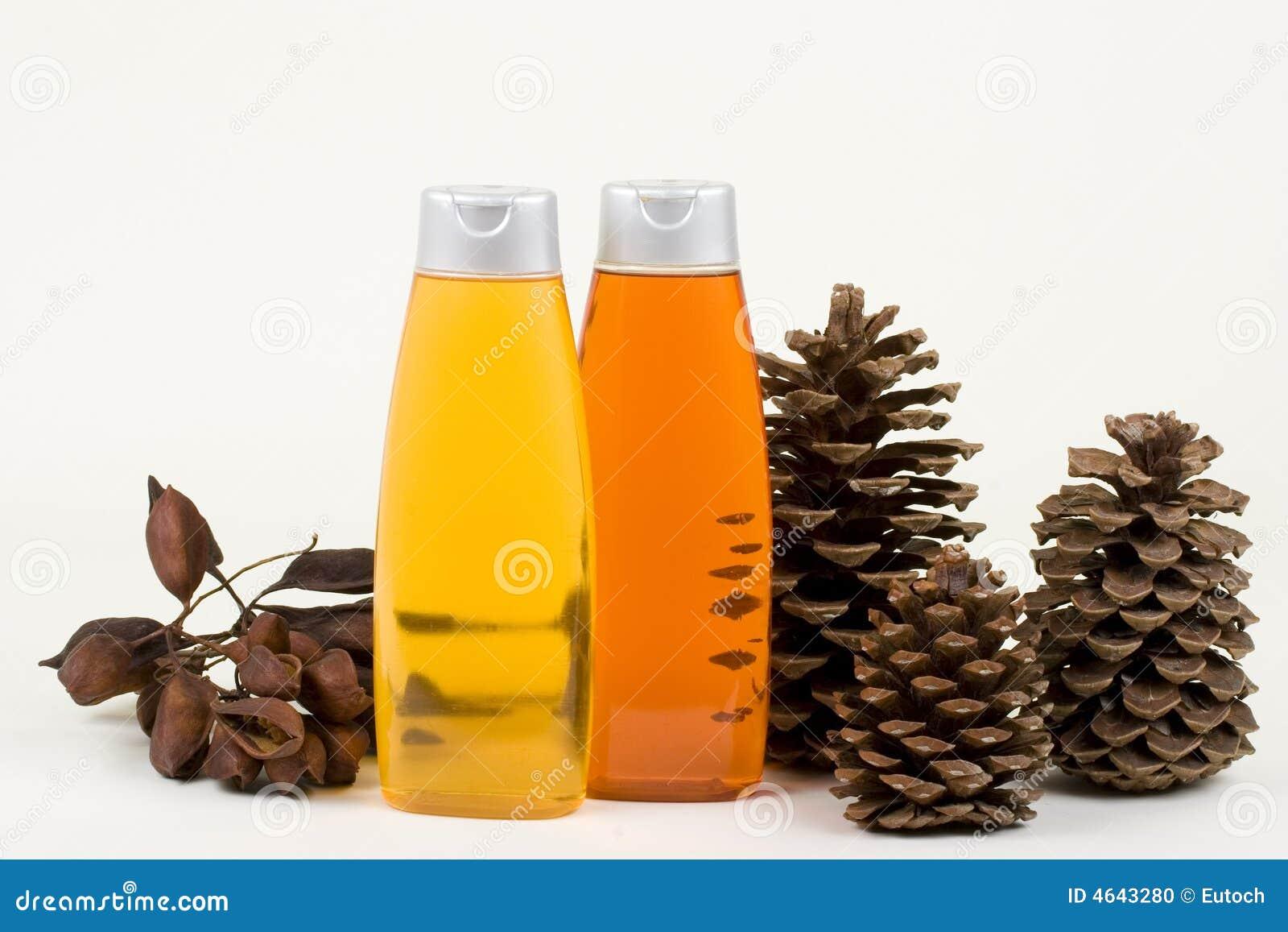 Champô com cones e sementes do pinho nas almofadas