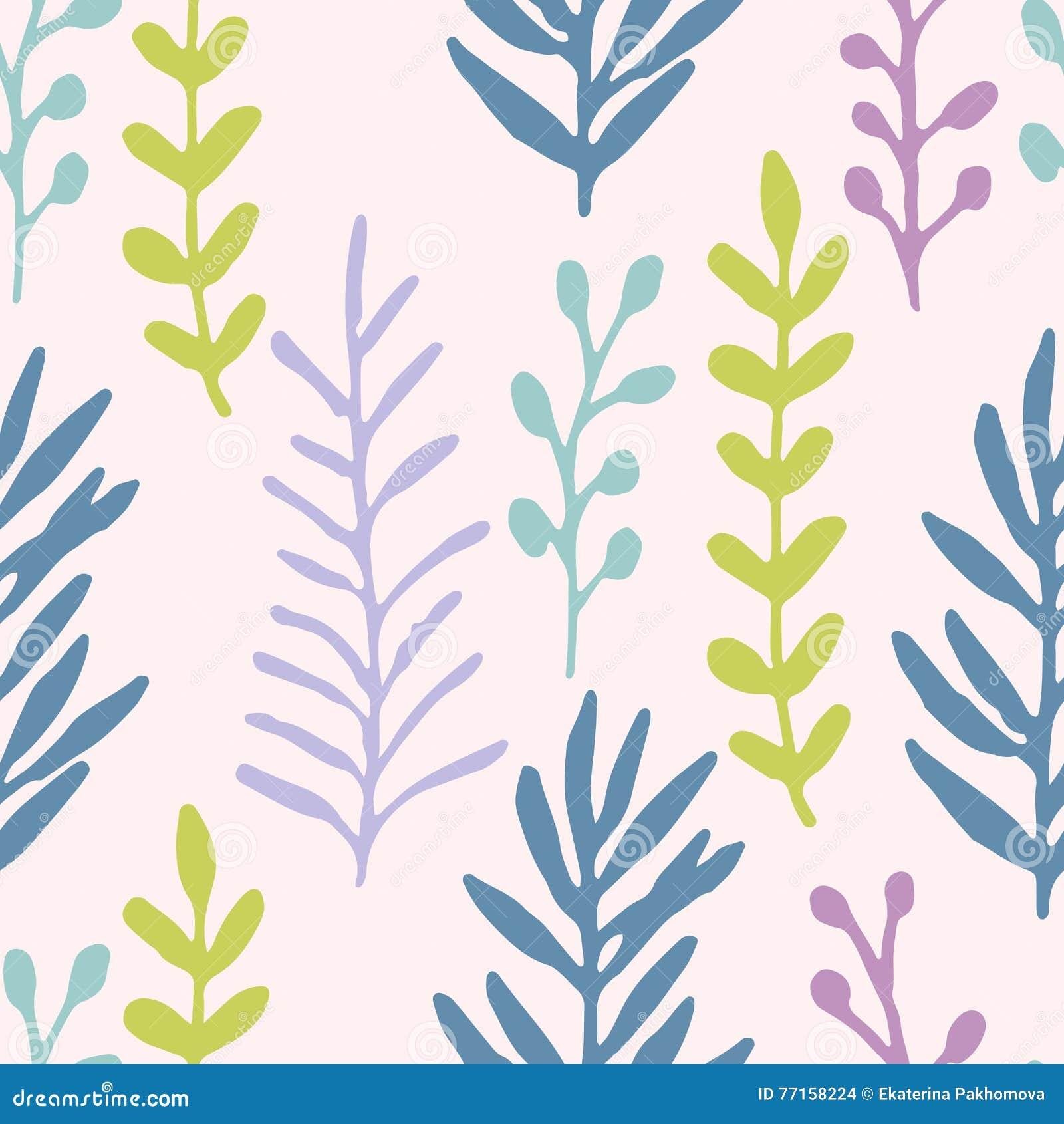 Champ d herbe tiré par la main, modèle sans couture de branches bleu en pastel, vert, violet Configuration florale