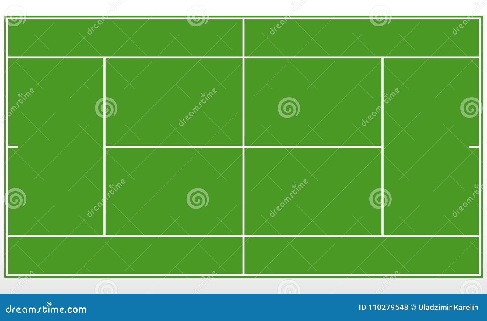 Champ vert de tennis Court de tennis de calibre avec des lignes