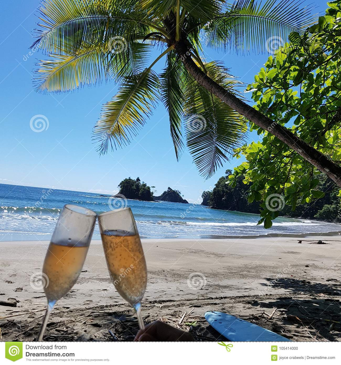 Beach Champagne: Champagne On The Beach! Stock Photo. Image Of Glass