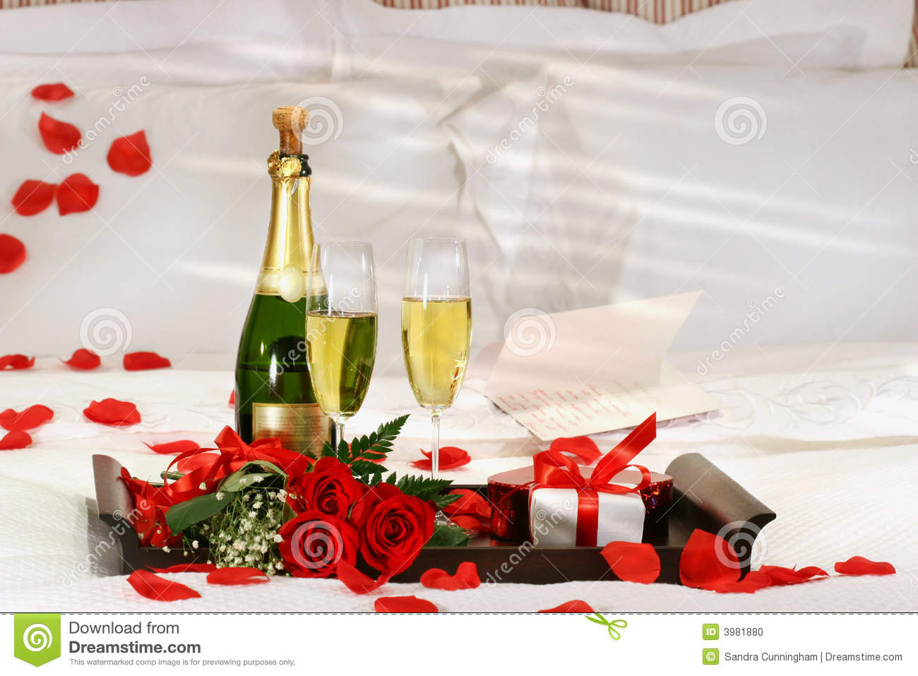Champagne In Bed Stock Photo Image 3981880