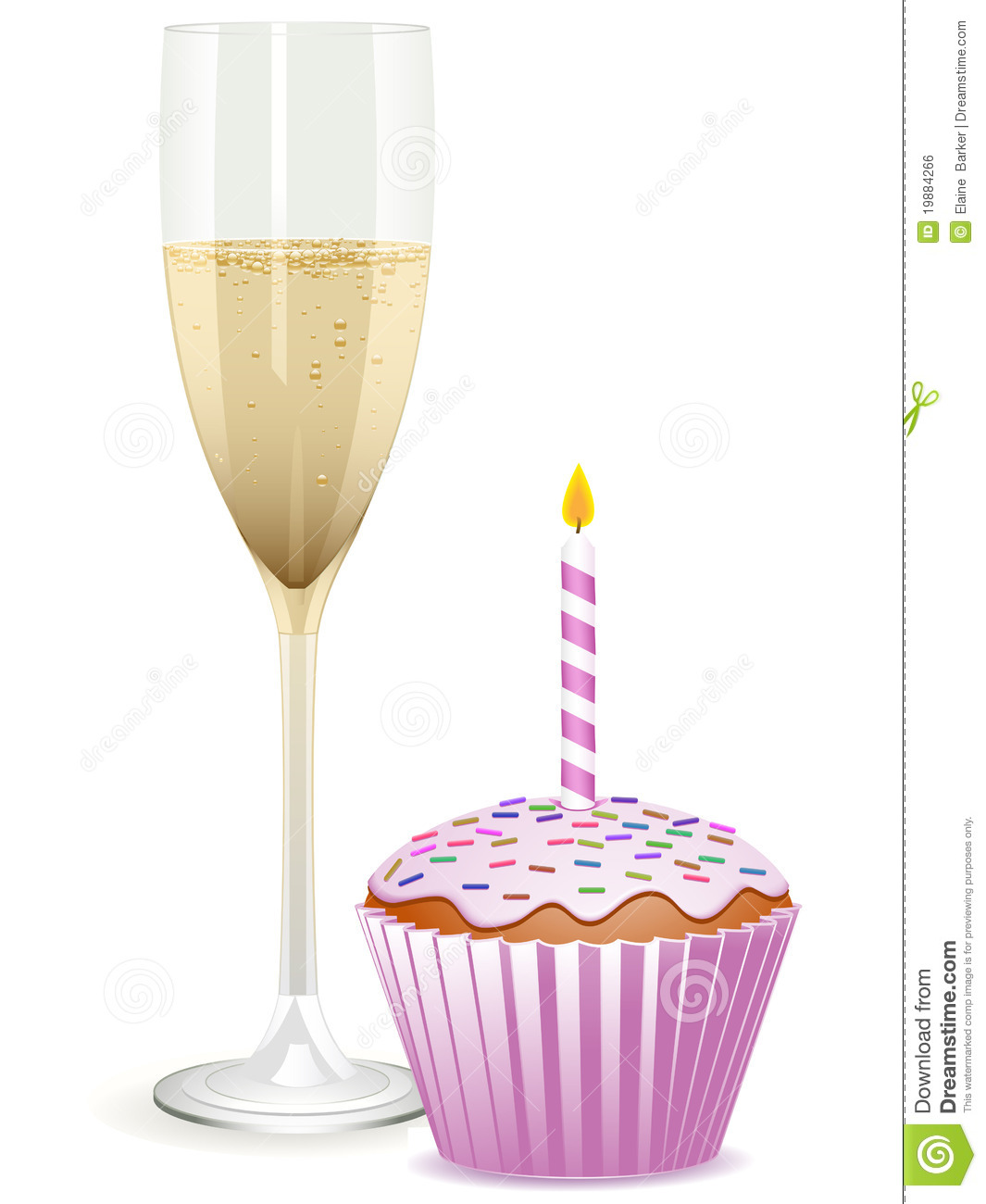 Champagne And Birthday Cupcake Stock Vector Illustration
