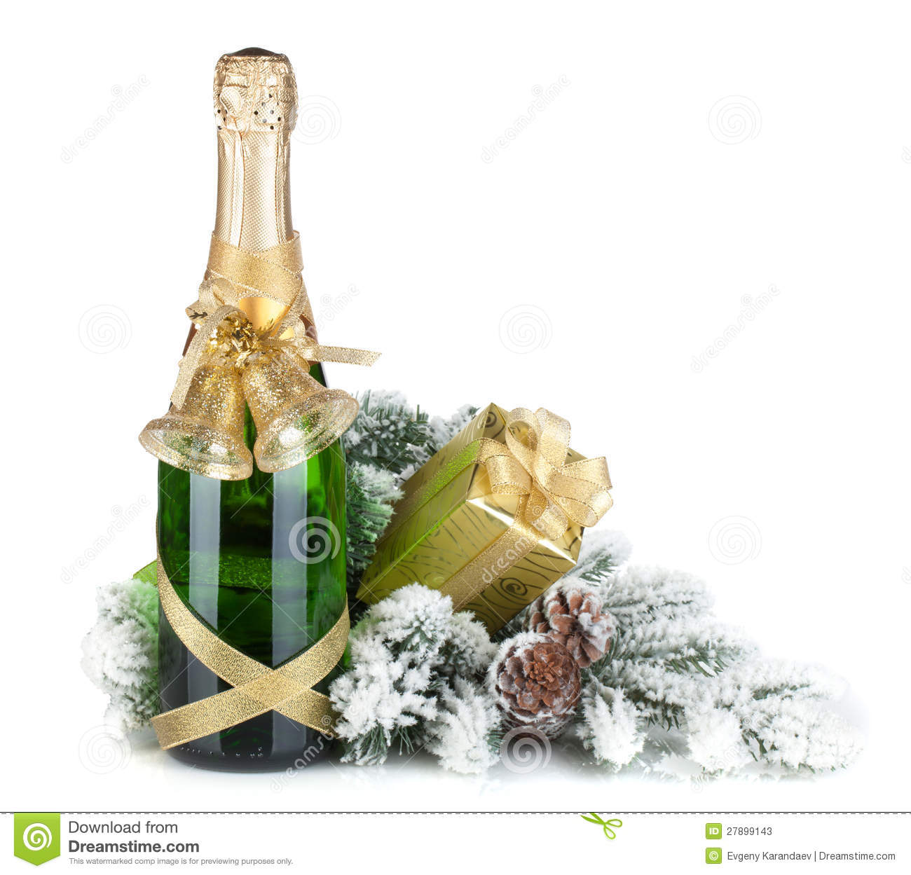Champagne Bottle, Christmas Gift And Snowy Firtree Stock ...