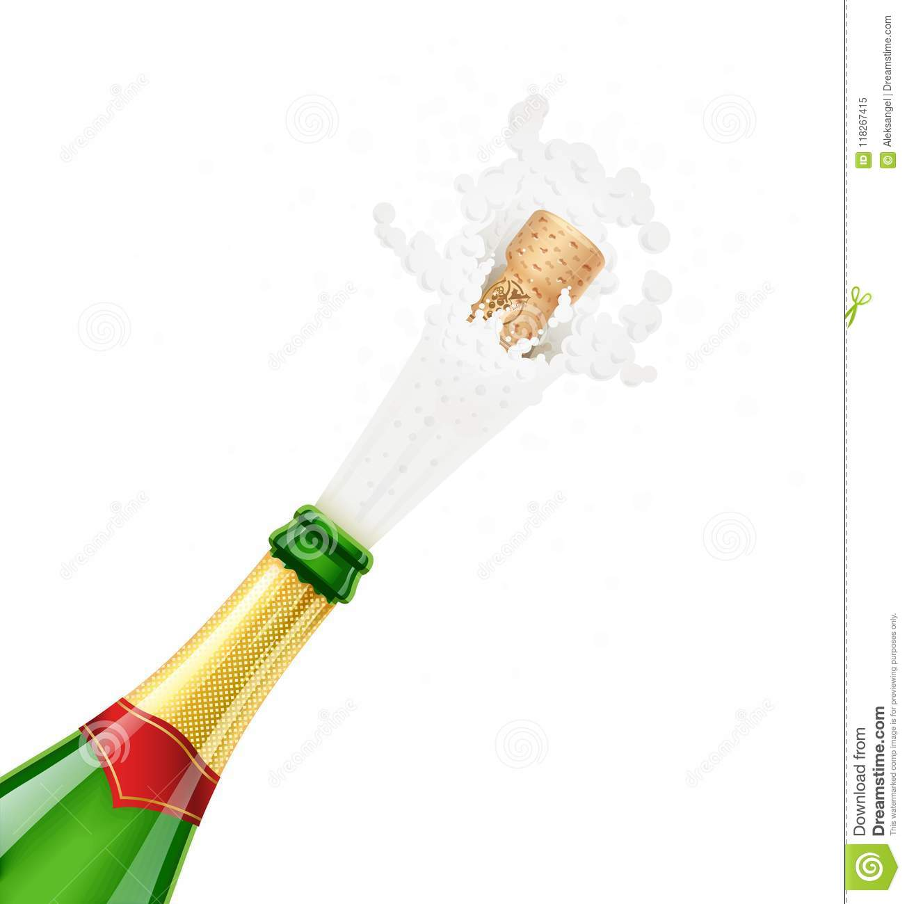 Champagne Bottle Explode Traditional French Alcohol Drink Stock
