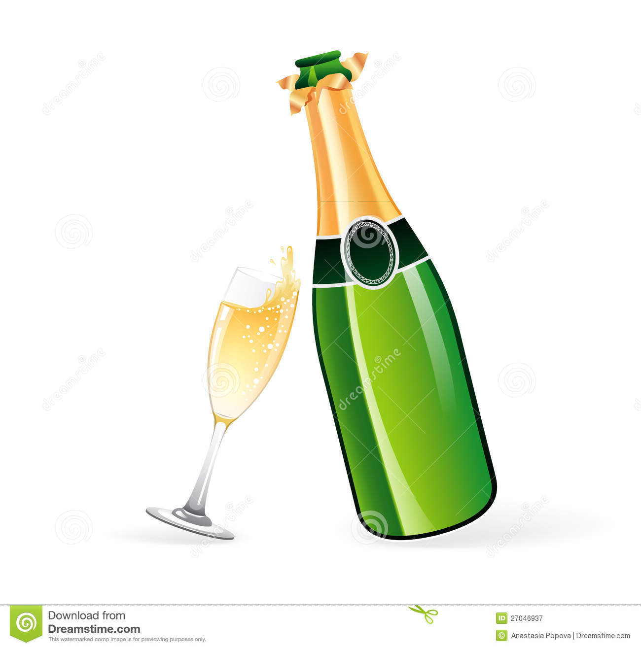 Champagne Bottle And Glass Royalty Free Stock Photography - Image ...