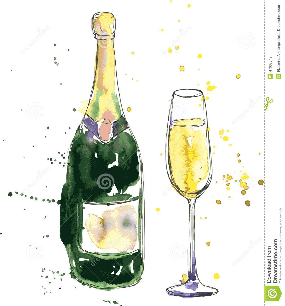 Glass vanity table set - Champagne Bottle And Glass Stock Vector Image 47007047