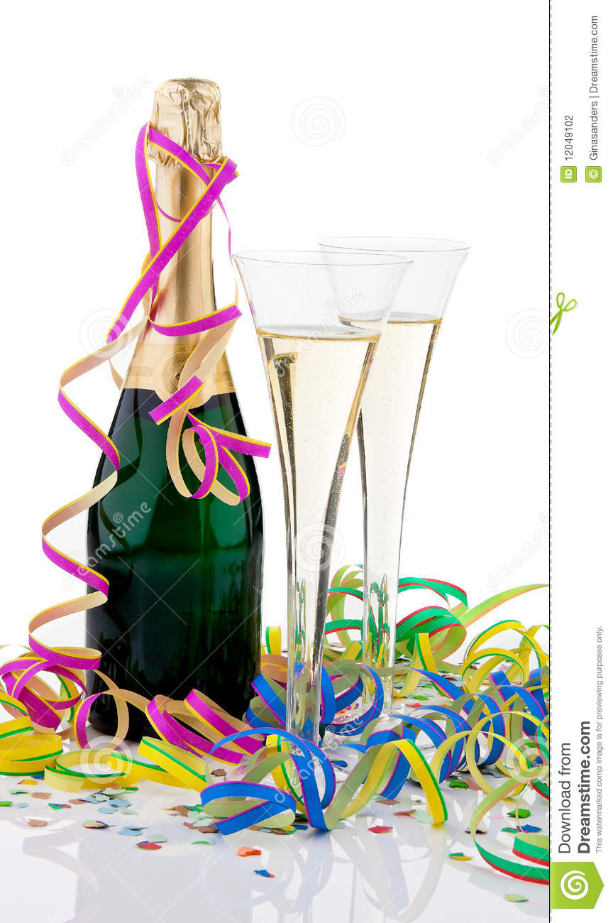 Champagne Bottle And Glasses Stock Photo Image 12049102