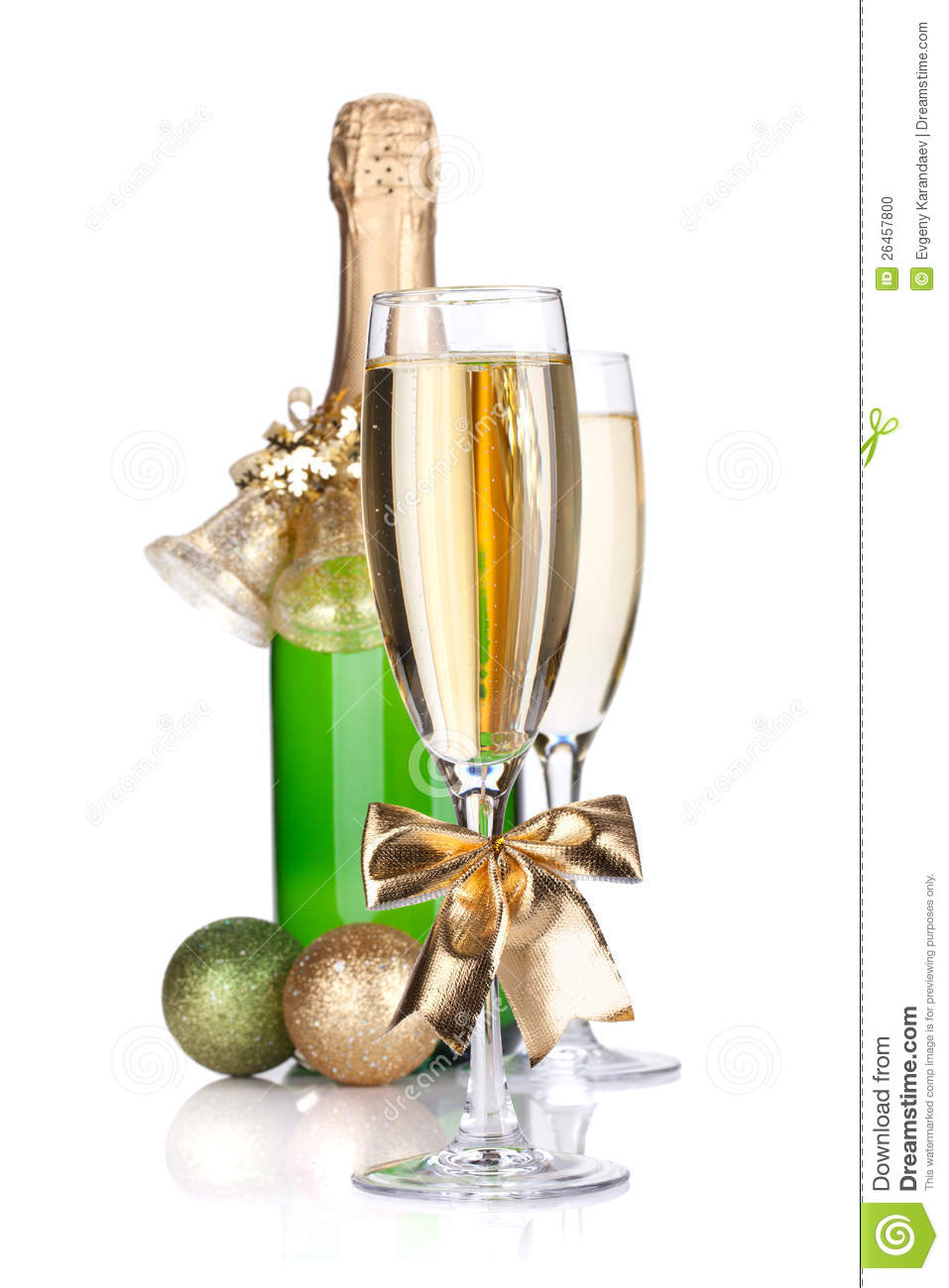 champagne bottle glasses and christmas decor stock photo