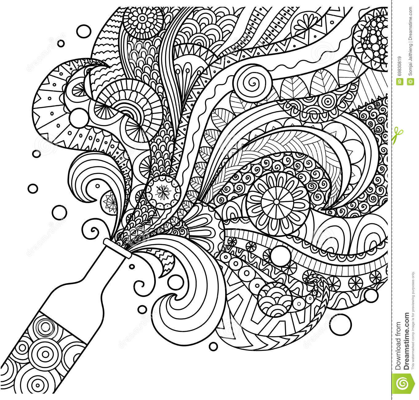 Line Art Free : Champagne bottle line art design for coloring book