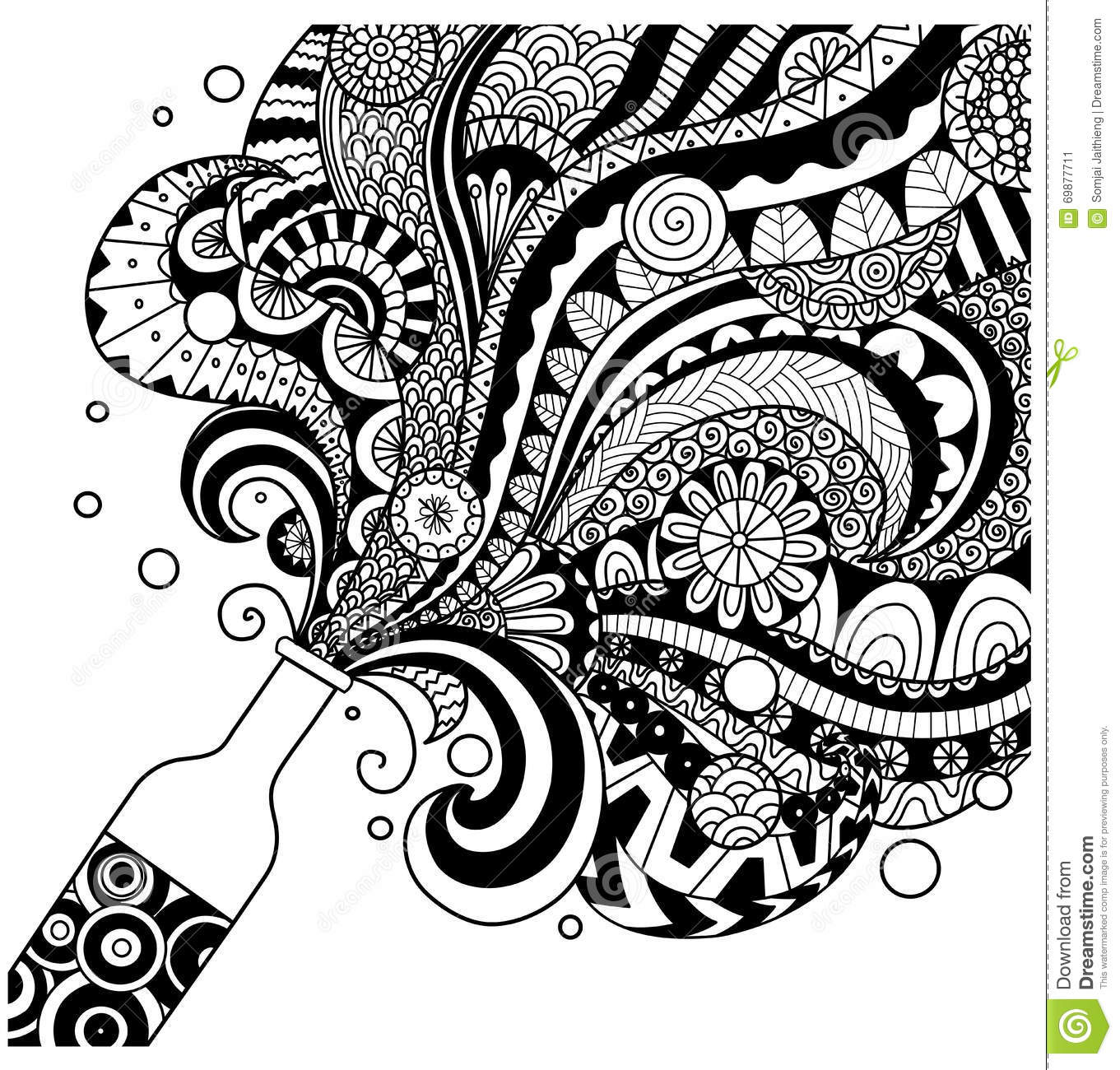 Line Art Media Design : Champagne bottle line art design for coloring book