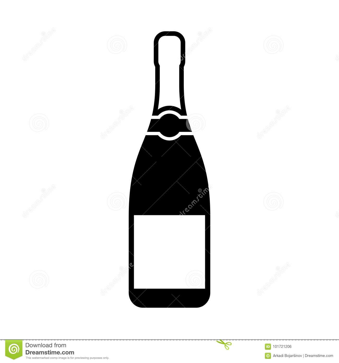 Champagne bottle silhouette icon