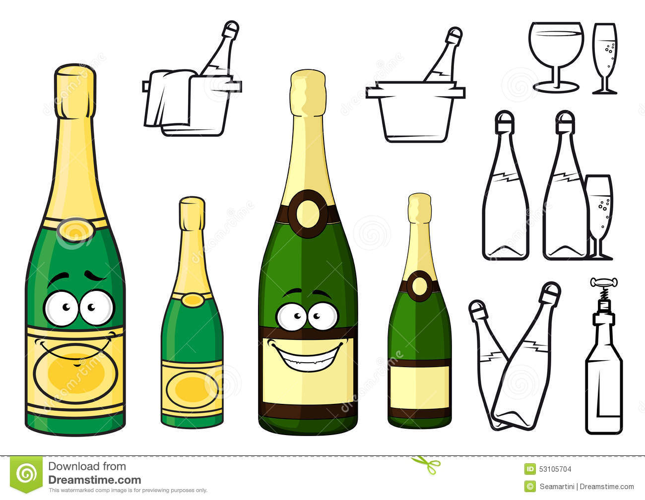 Champagne Bottles Cartoon Characters And Icons Stock